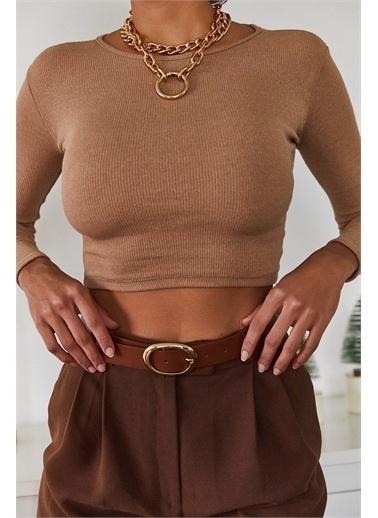 XHAN Kahverengi Sırt Detaylı Bluz 1Kxk2-44702-18 Kahve